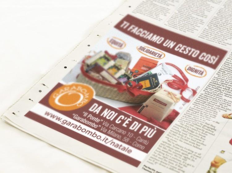 Garabombo Natale pubblicità su quotidiano La Provincia