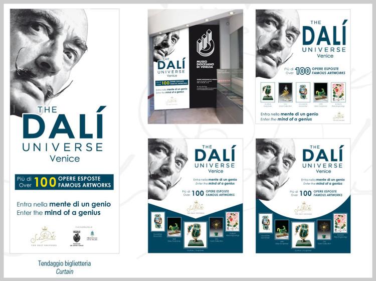Dali Universe Venezia personalizzazione tendaggio biglietteria mostra