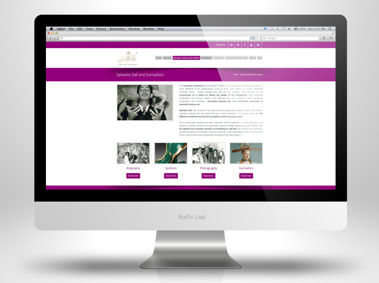 Sviluppo sito web opere scultoree di Dali